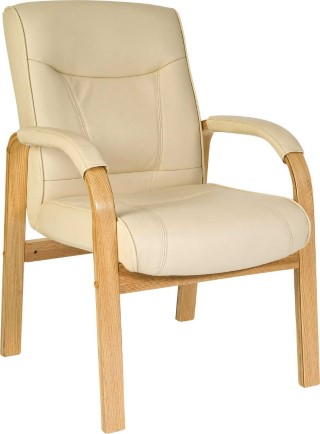 Knightsbridge Visitor Cream Leather And Wood Visitors Chair Office Needs