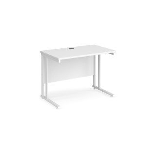 Maestro 25 WL straight desk 1000mm x 600mm - white cantilever frame, white top MC610WHWH
