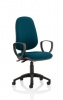 Eclipse II Lever Task Operator Chair Bespoke With Loop Arms In Maringa Teal